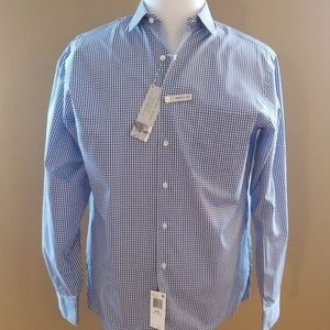 Geoffrey Bean 16.5 34-35 Blue Checker Shirt